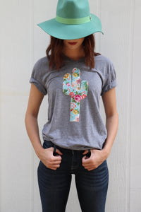 Tiffany Floral Grey Triblend Tee
