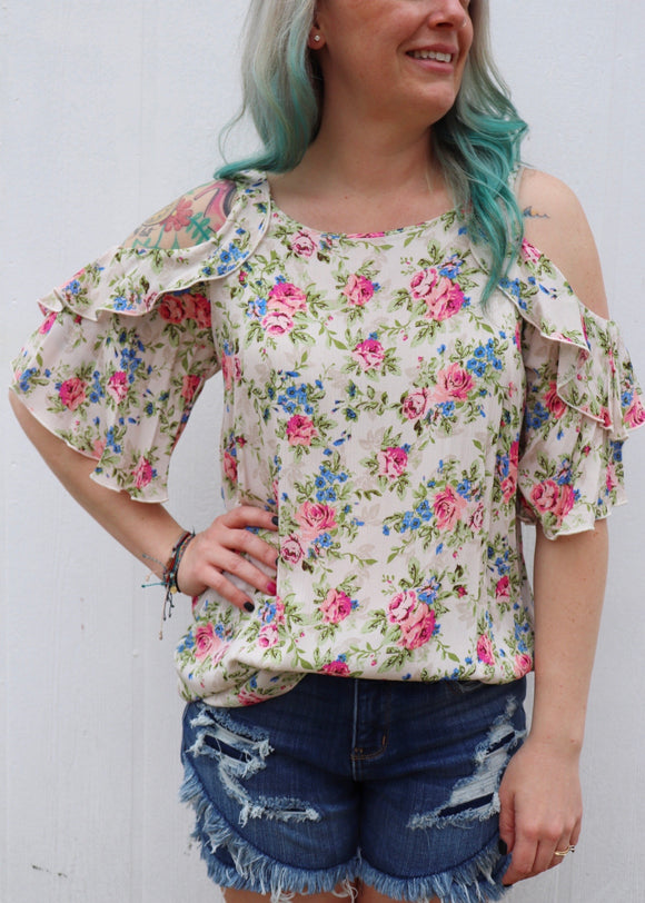 Rawhide Ruffle Cold Shoulder Floral Top