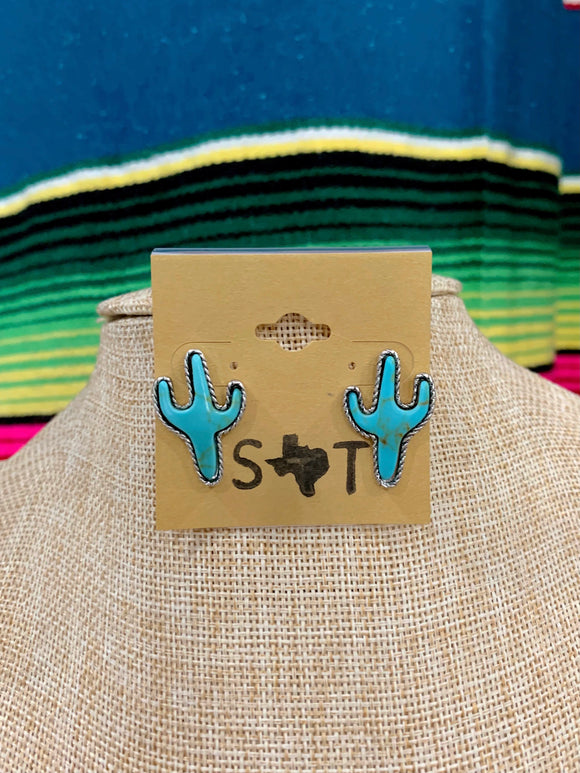 Turquoise Saguaro Cactus Stud Earrings