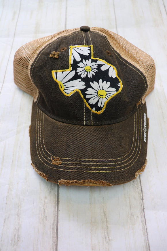 Black & Yellow Daisy Dirty Trucker Hat