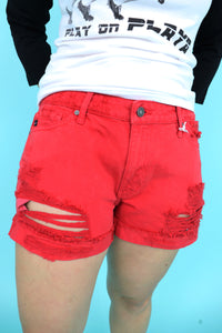 Red Hot Distressed Shorts