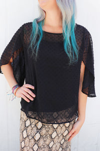 Bellaire Black Sheer Top