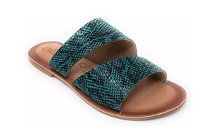 Last Call Sweet Snake Skin Teal Sandals
