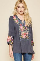 Edom Peach Floral Embroidered Top