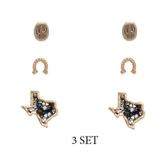 Lucky Texan Stud Earring Set [3 Colors]