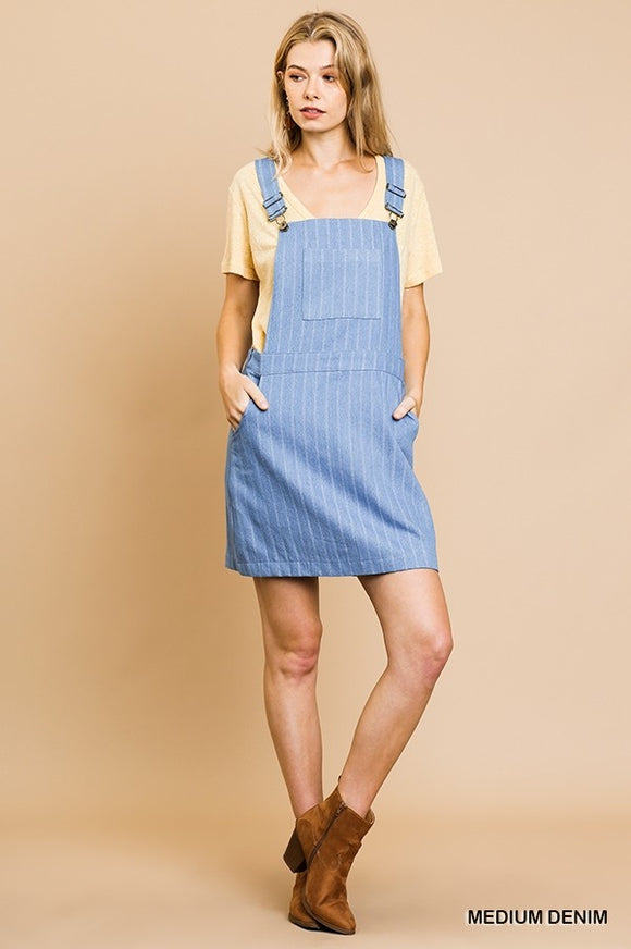 Denison Denim Striped Overall Dress