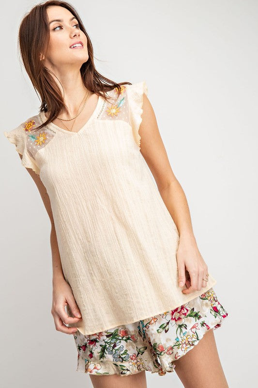 Goliad Gauzy Embroidered Mesh Top