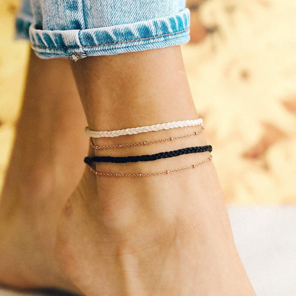 Pura Vida Satellite Chain Anklet [2 Colors]