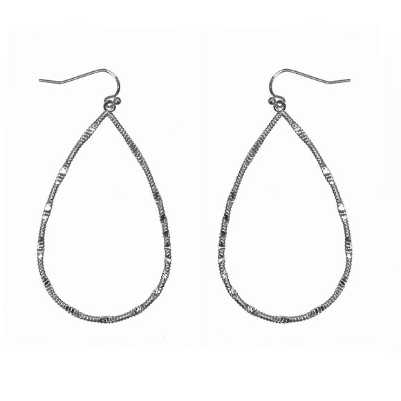 Silver Hammered Teardrop Earrings