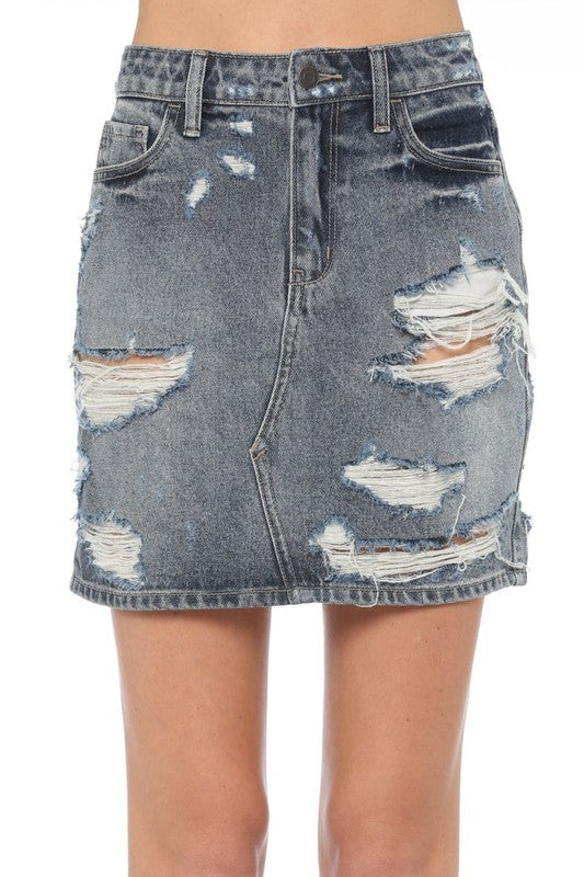 Margarita Distressed Mini Skirt