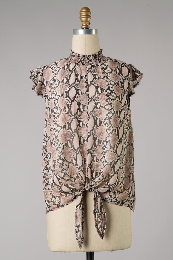 Snake Print Smocked Neck Top