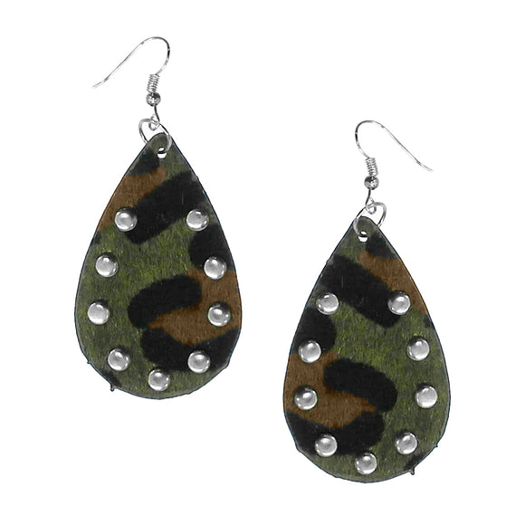 Studded Leopard Fur Earrings [2 Colors]