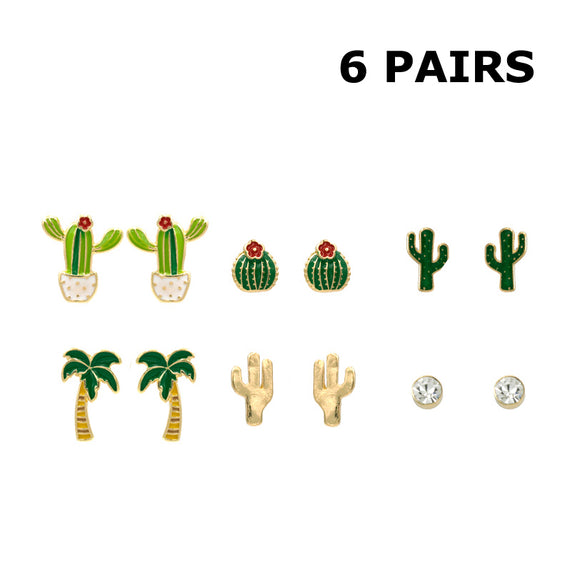 Succulents 6 Pack Enamel Stud Earrings