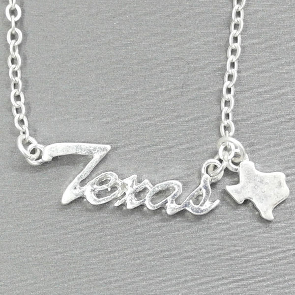 Texas Name Plate Necklace With State Charm