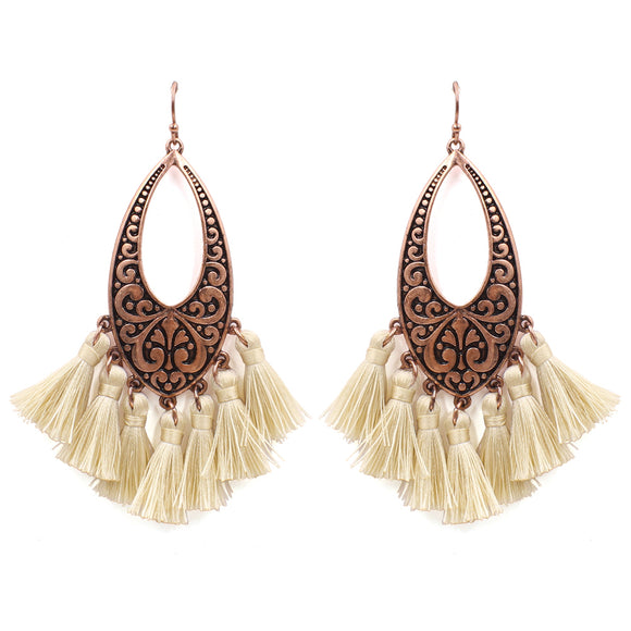 Tooled Copper Fringe Earrings