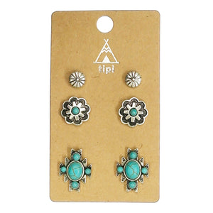 Last Call 3 Piece Navajo Turquoise Earring Set