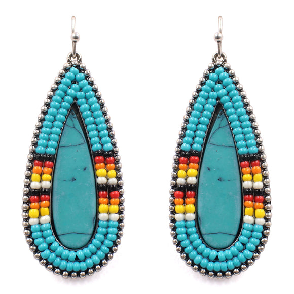 Turquoise Navajo Seed Bead Earrings