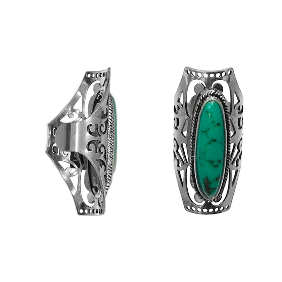 Turquoise Oval Queen Ring