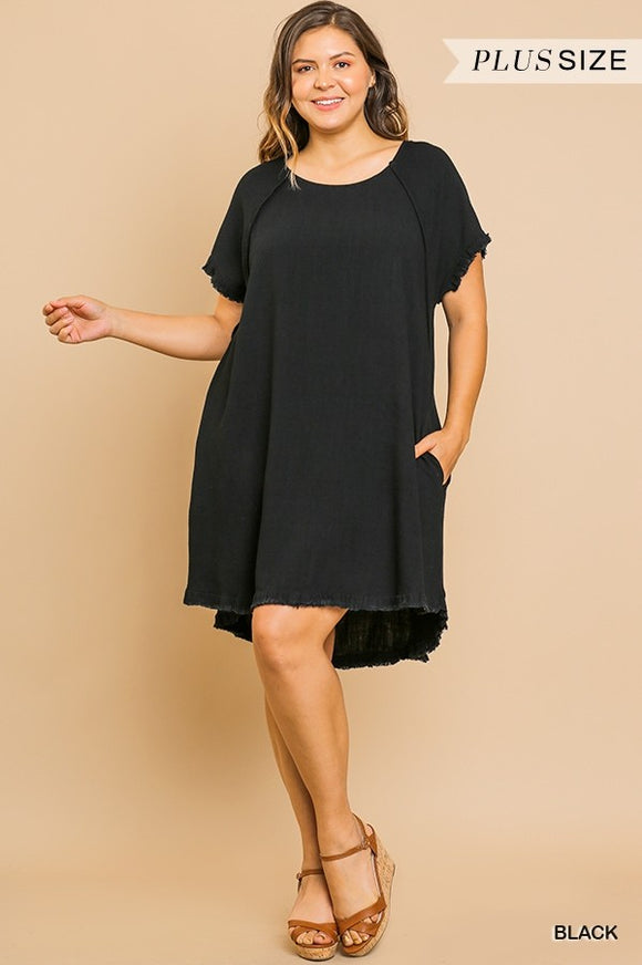 Queen Size Reilly Raw Edge Dress [Black]