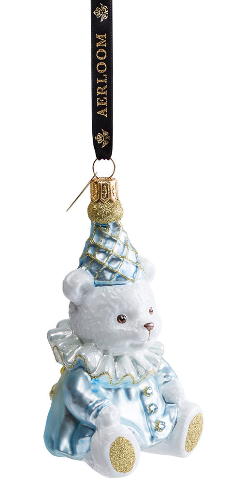 Teddy Bear - Baby Blue - glass baubles Christmas decorations