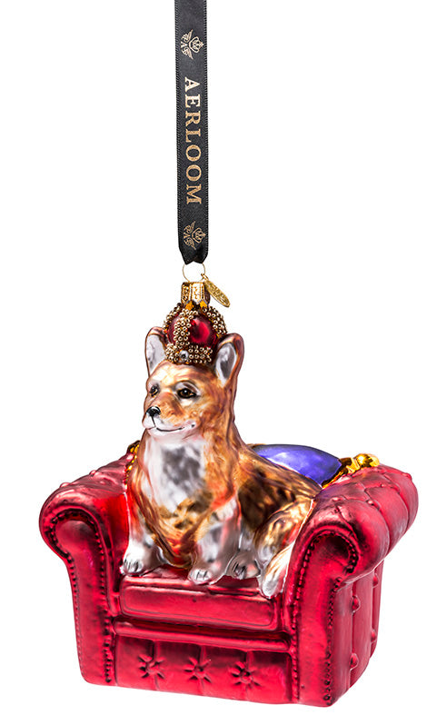 Royal Corgi - multi coloured - glass baubles Christmas decorations