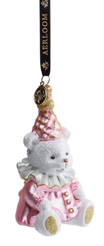Teddy Bear - Baby Pink - glass baubles Christmas decorations