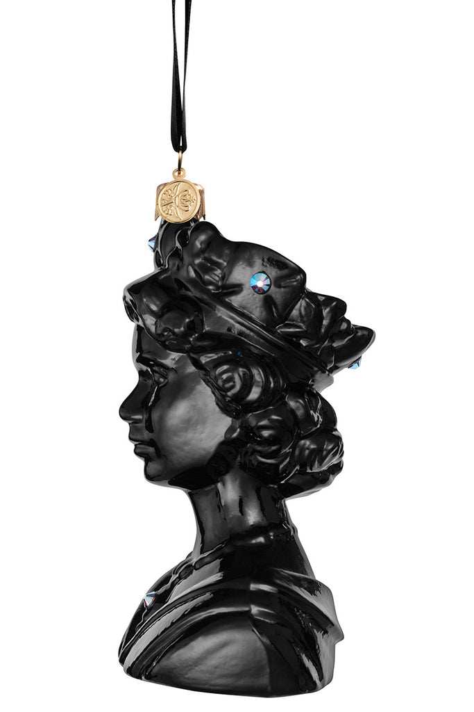 The Queen - Black - glass baubles Christmas decorations