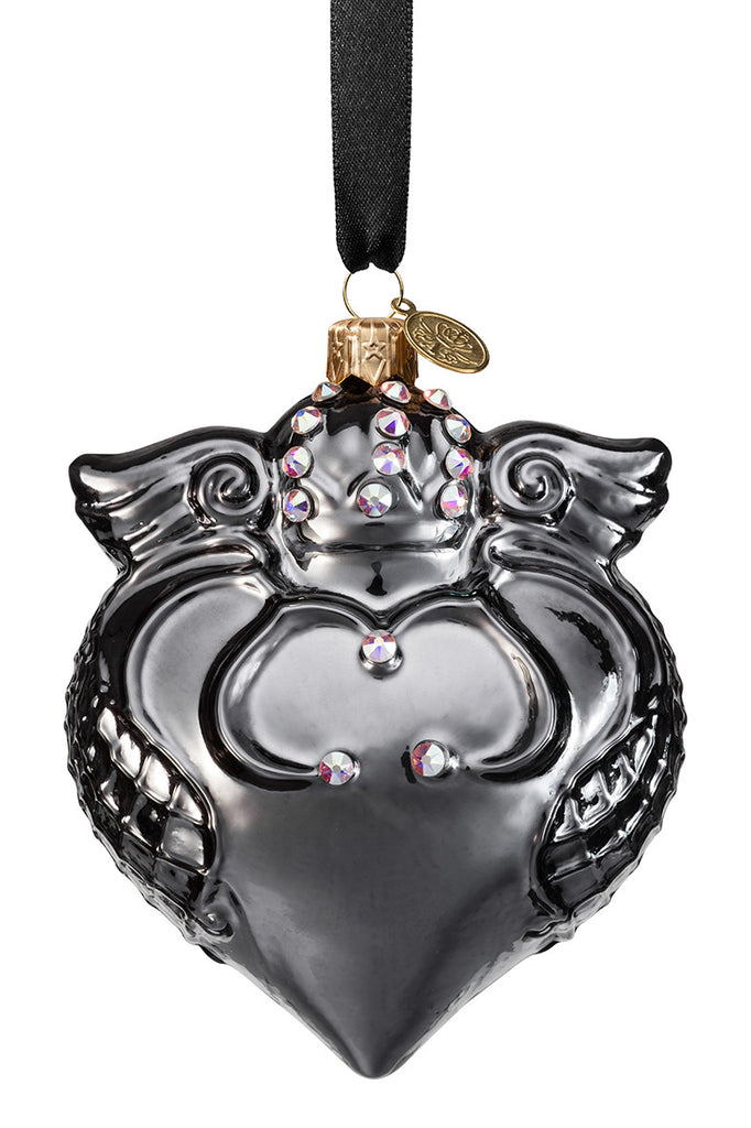 Imperial Heart - Dark Chrome - glass baubles Christmas decorations