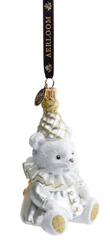 Teddy Bear - White - glass baubles Christmas decorations