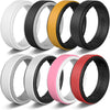 CHICMODA 8 Colorfu Silicone Wedding Rings Women Men  Breathable Step Edge Sleek Design