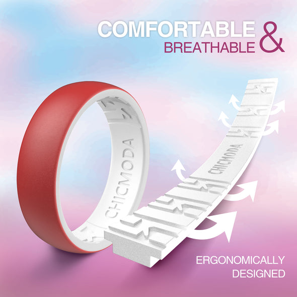 CHICMODA 8 Colorfu Silicone Wedding Rings Women Men  Breathable Design