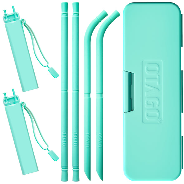 OTAGO Reusable Straws With Case Family Bundle 9 Pack 1 tableware box+2 straw case 4pcs Silicone Drinking Foldable Straws BPA Free 2 Straight+2 Bent+2 Brushes
