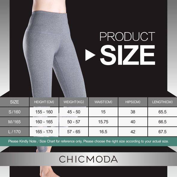 CHICMODA Yoga Pants Woman's Sport Ankle Leggings Zipper Pocket