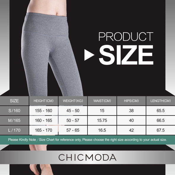 CHICMODA High Rise Yoga Capris With Hidden Pocket