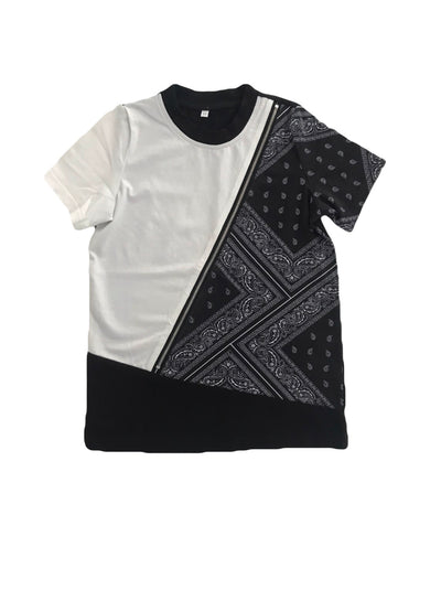 kids tshirt with black and white bandana print on the front