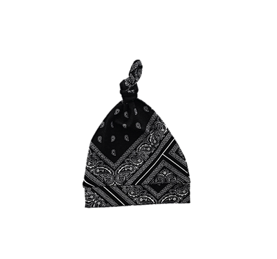 Bandana Baby Beanie in black and white bandana print