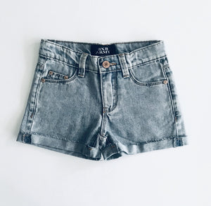 Light Blue Wash Frayed Shorts