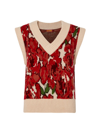 Meadow Rose Intarsia V-Neck Knit Sweater