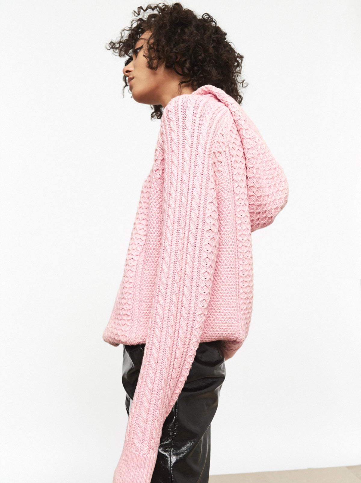 Kate Pink Cable Knit Hoody