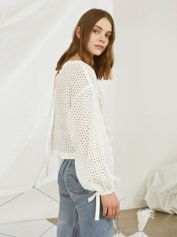 Allegra White Broderie Casual Sheer Top by KITRI Studio