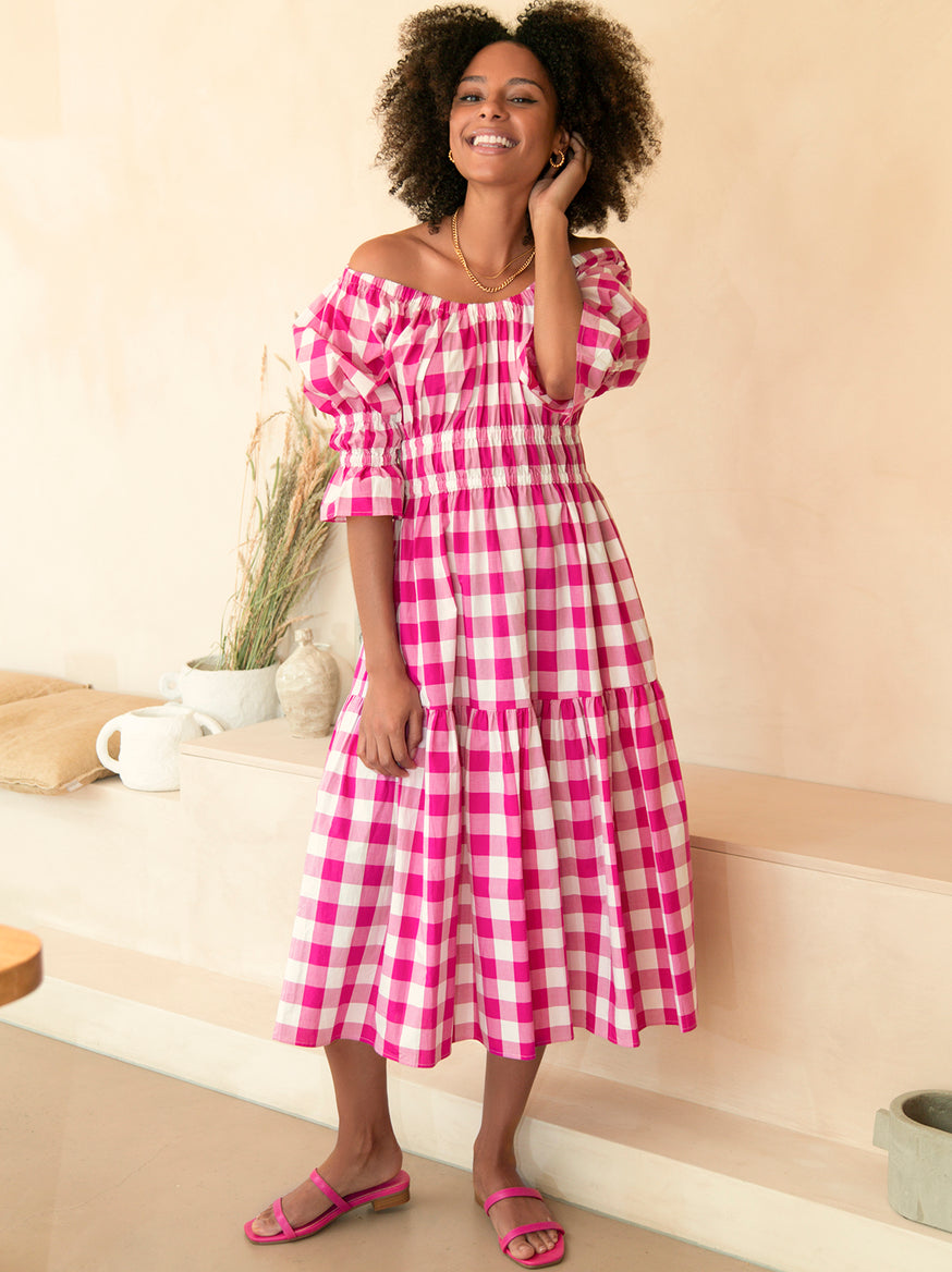Pre-order: Margot Pink Check Midi Dress