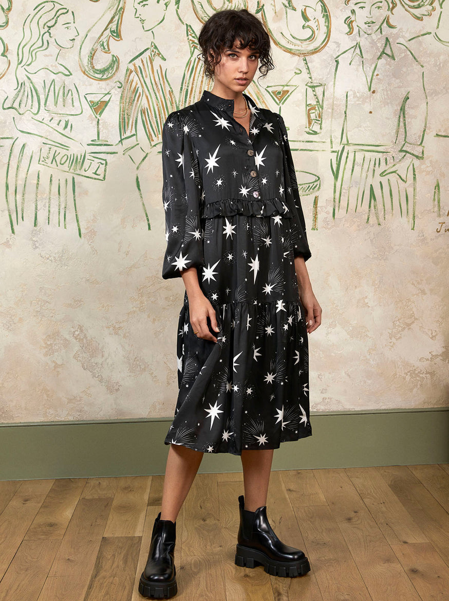 Abigail Star Print Midi Dress