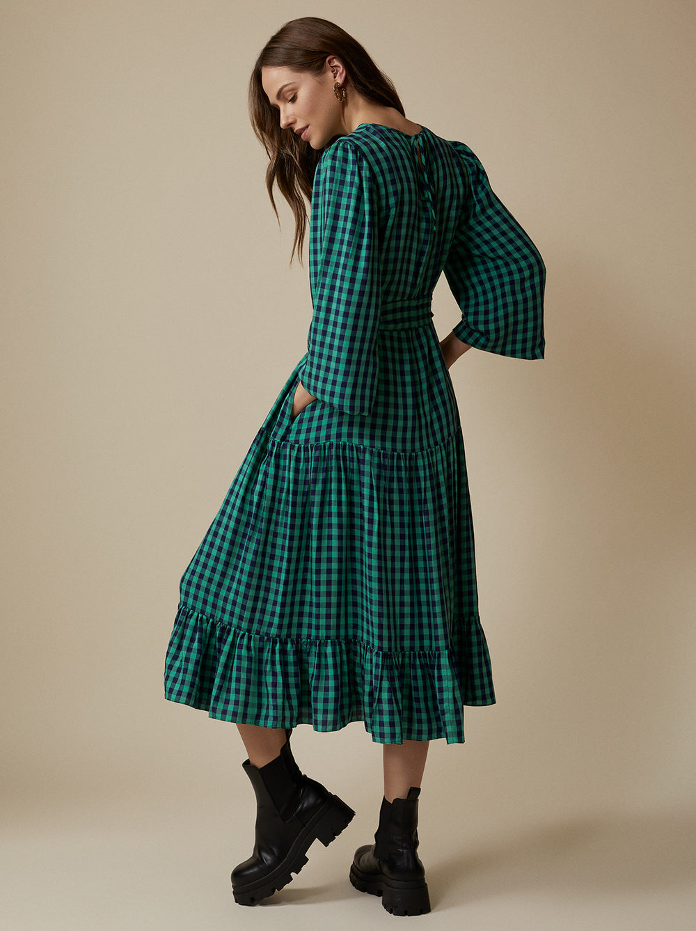 Alana Checked Midi Dress by KITRI Studio