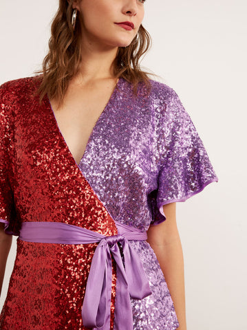 Alexis Red Sequin Frill Wrap Top by KITRI Studio