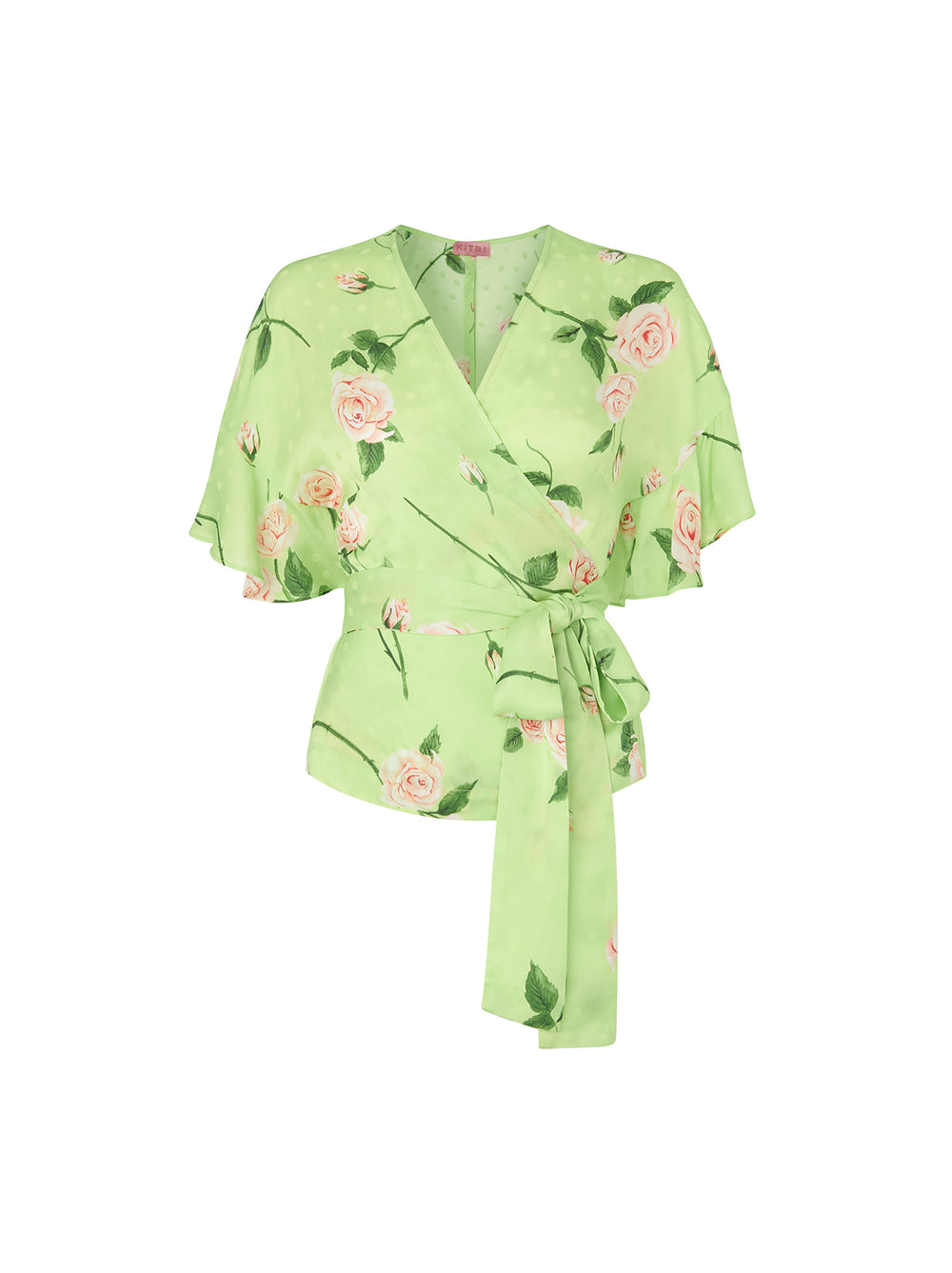 Alexis Green Floral Print Frill Wrap Top by KITRI Studio