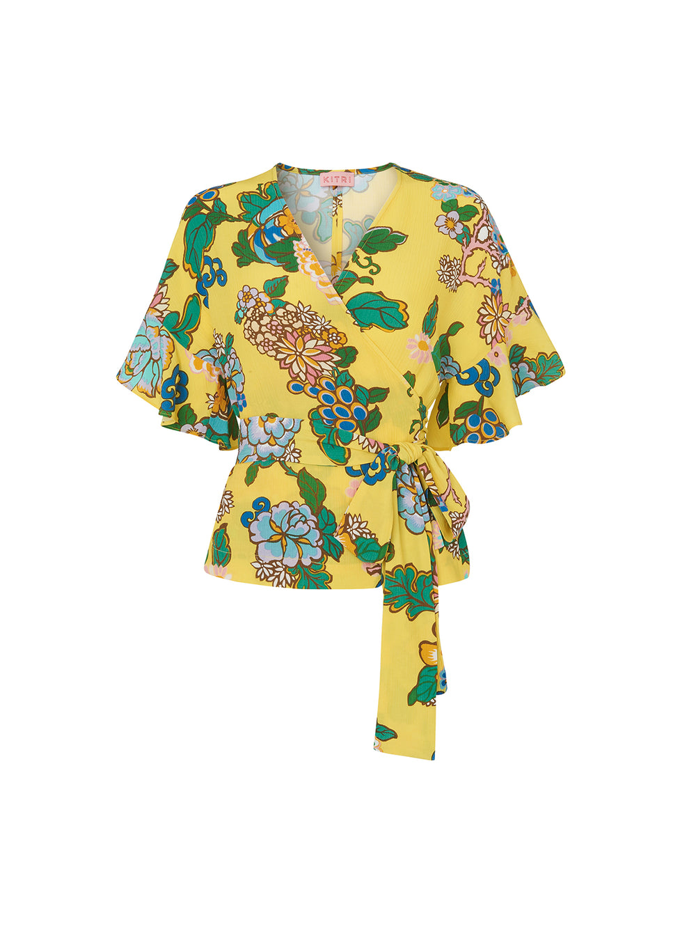 Alexis Yellow Printed Frill Wrap Top by KITRI Studio