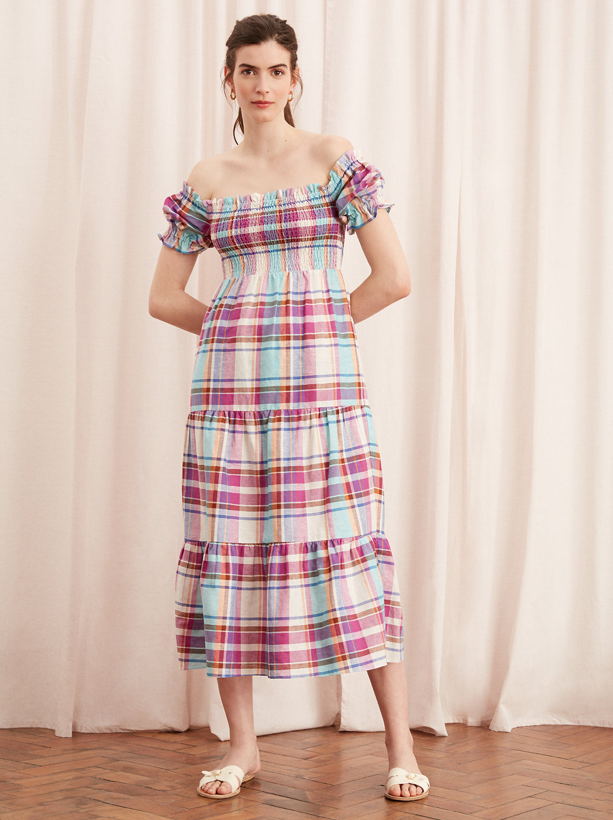 Alma Pink Linen Check Bardot Dress by KITRI Studio