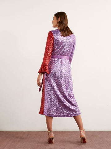 Alyssa Red Sequin Wrap Dress by KITRI Studio