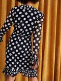 Anastasia Polka Dot Pleated Wrap Dress by KITRI Studio