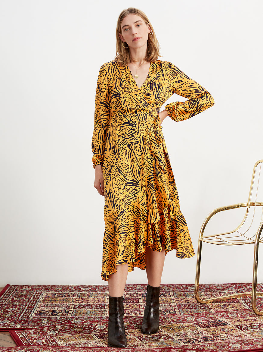 Anissa Animal Print Frill Wrap Dress by KITRI Studio